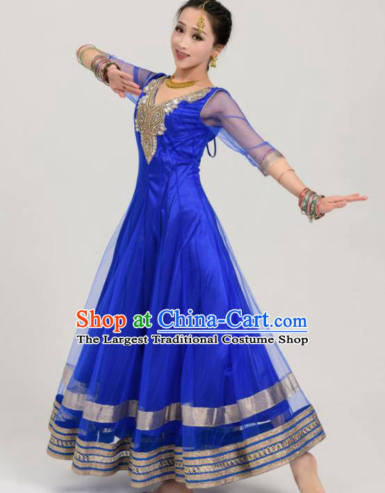 Asian India Traditional Bollywood Costumes South Asia Indian Belly Dance Royalblue Veil Sari Dress for Women