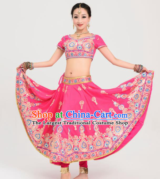 Asian India Princess Traditional Bollywood Costumes South Asia Indian Belly Dance Rosy Sari Dress for Women