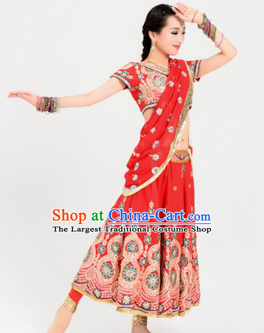 Asian India Princess Traditional Bollywood Costumes South Asia Indian Belly Dance Red Sari Dress for Women