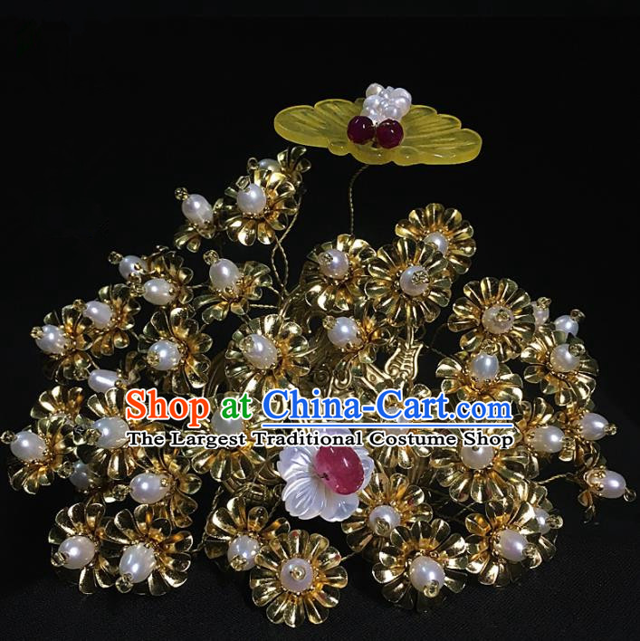 Traditional Chinese Hanfu Jade Golden Hair Crown Hair Accessories Ancient Imperial Consort Hairpins for Women