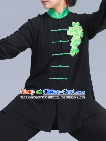 Asian Chinese Martial Arts Wushu Costume Traditional Tai Ji Kung Fu Training Embroidered Peony Black Uniform for Women