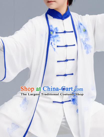 Asian Chinese Martial Arts Wushu Costume Traditional Tai Ji Kung Fu Training Printing Peony White Uniform for Women