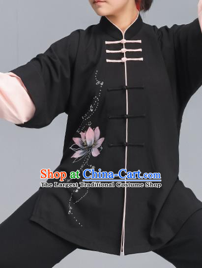 Asian Chinese Martial Arts Wushu Costume Traditional Tai Ji Kung Fu Training Printing Lotus Black Uniform for Women