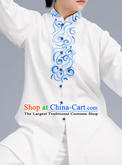 Asian Chinese Martial Arts Wushu Costume Traditional Tai Ji Kung Fu Training Embroidered White Uniform for Women