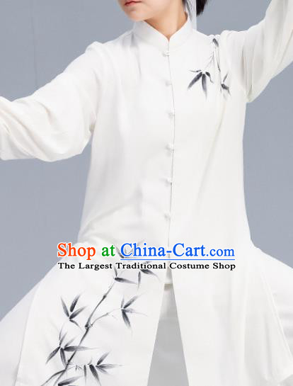 Asian Chinese Martial Arts Wushu Printing Bamboo Costume Traditional Tai Ji Kung Fu Training Uniform for Women