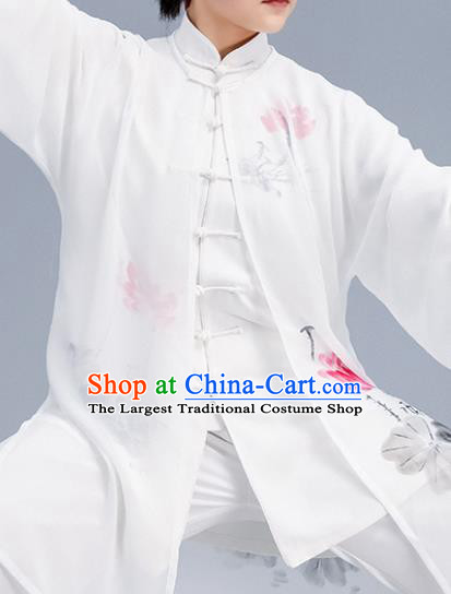 Asian Chinese Martial Arts Wushu Printing Lotus Costume Traditional Tai Ji Kung Fu Training Uniform for Women