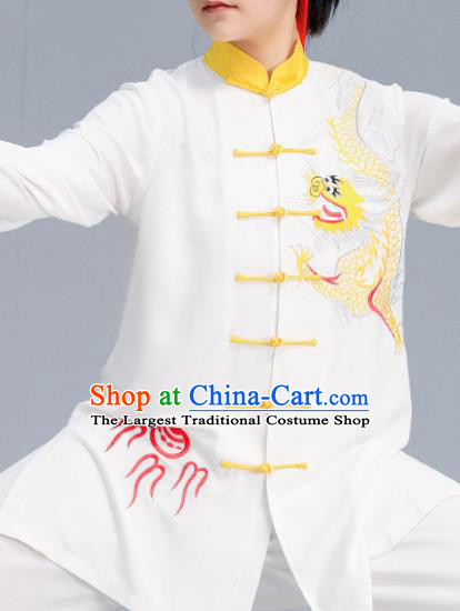 Asian Chinese Martial Arts Wushu Embroidered Dragon Costume Traditional Tai Ji Kung Fu Training Uniform for Women