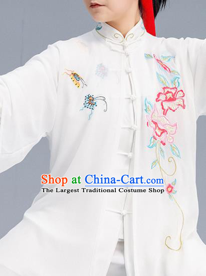 Asian Chinese Martial Arts Wushu Embroidered Peony Costume Traditional Tai Ji Kung Fu Training Uniform for Women