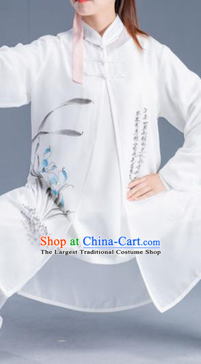 Asian Chinese Traditional Martial Arts Ink Painting Orchid Costume Tai Ji Kung Fu Training Uniform for Women