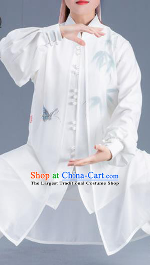 Asian Chinese Traditional Martial Arts Ink Painting Bamboo Butterfly Costume Tai Ji Kung Fu Training Uniform for Women