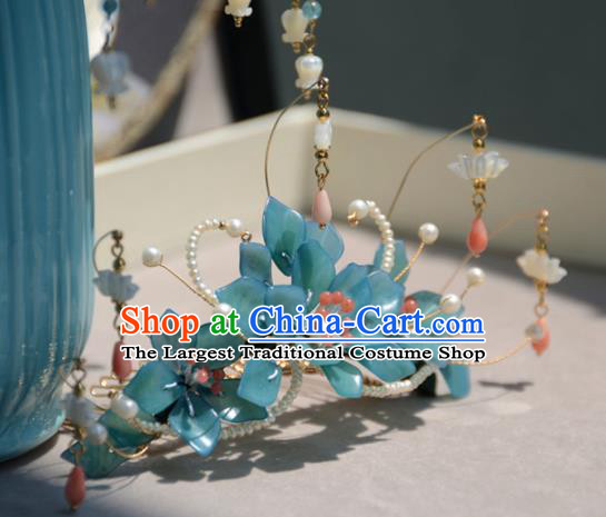 Traditional Chinese Hanfu Hair Accessories Ancient Princess Blue Flowers Hair Crown Tassel Hairpins for Women