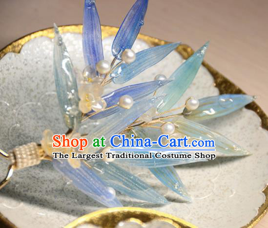 Traditional Chinese Hanfu Hair Accessories Ancient Princess Blue Bamboo Leaf Hairpins for Women