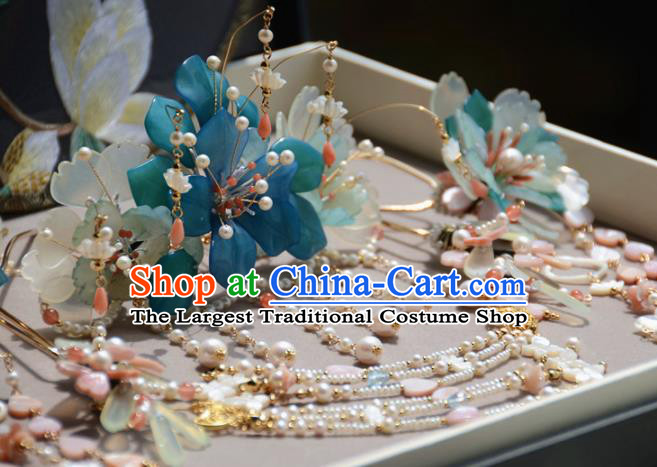 Traditional Chinese Hanfu Hair Accessories Ancient Princess Pearls Tassel Phoenix Coronet Hairpins for Women