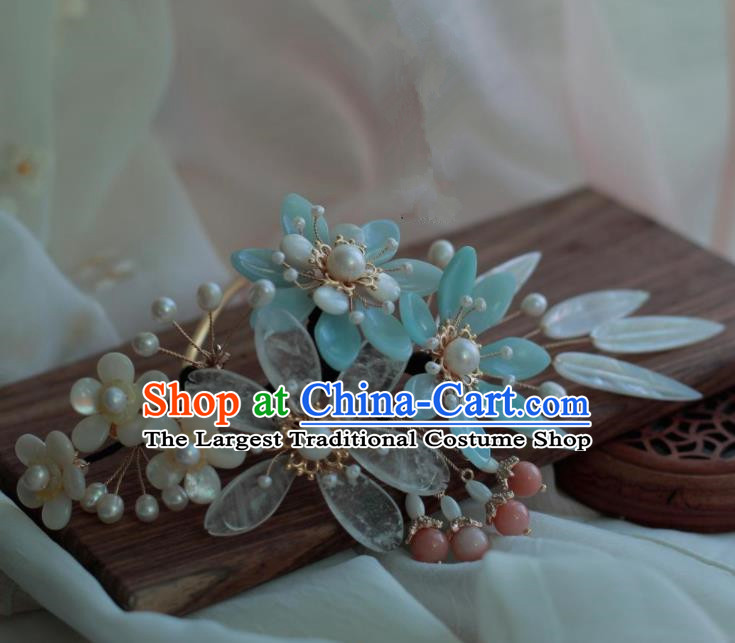 Traditional Chinese Hanfu Blue Plum Blossom Hair Comb Hair Accessories Ancient Princess Hairpins for Women