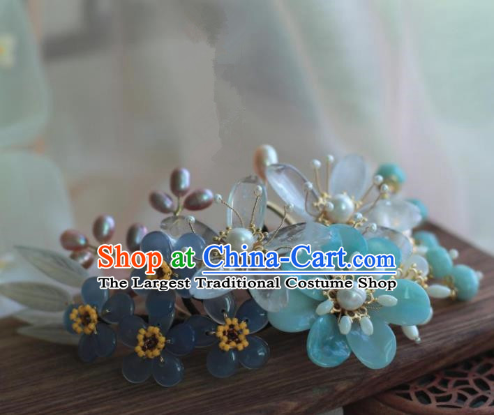 Traditional Chinese Hanfu Pearls Bamboo Leaf Hair Comb Hair Accessories Ancient Princess Hairpins for Women