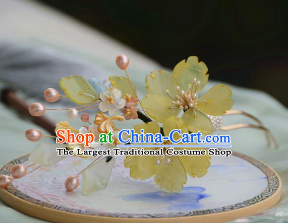 Traditional Chinese Hanfu Pearls Ginkgo Leaf Hair Clip Hair Accessories Ancient Princess Hairpins for Women