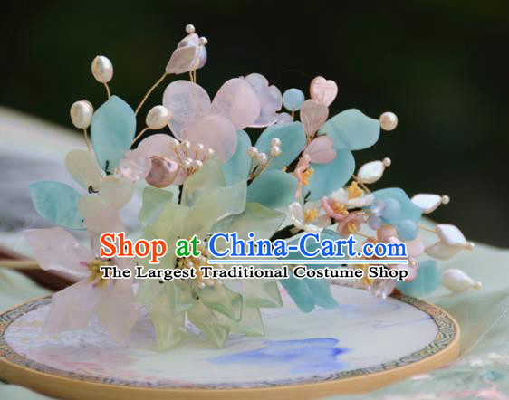 Traditional Chinese Hanfu Green Peony Hair Clip Hair Accessories Ancient Princess Hairpins for Women