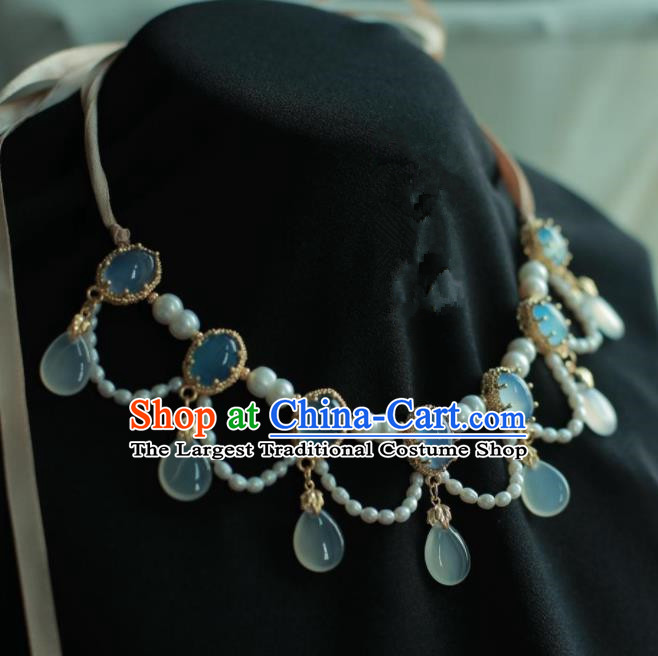 Traditional Chinese Hanfu Accessories Ancient Princess Blue Agate Necklace for Women
