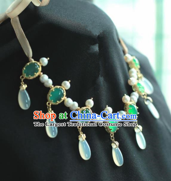 Traditional Chinese Hanfu Accessories Ancient Princess Green Agate Necklace for Women