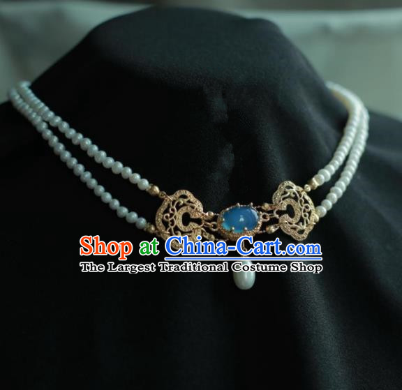 Traditional Chinese Hanfu Accessories Ancient Princess Pearls Agate Necklace for Women