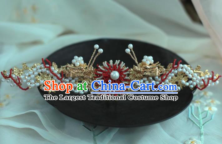 Traditional Chinese Hanfu Pearls Dragon Hair Crown Hair Accessories Ancient Princess Hairpins for Women