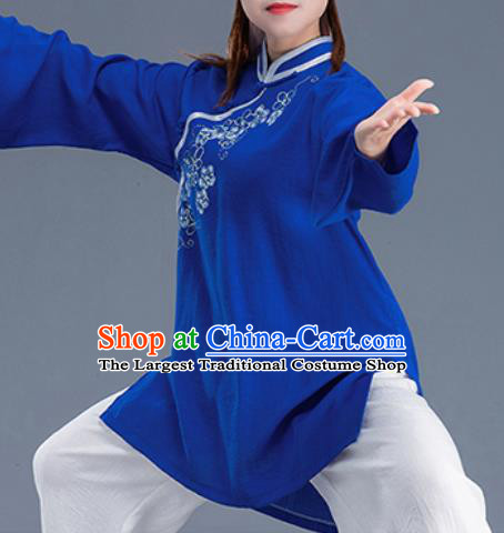 Asian Chinese Traditional Martial Arts Costume Tai Ji Kung Fu Training Blue Uniform for Women