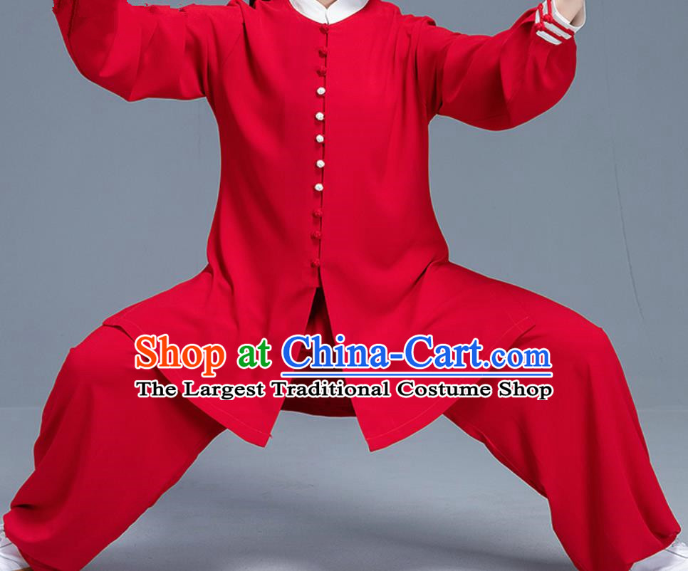 Asian Chinese Traditional Martial Arts Costume Tai Ji Kung Fu Training Red Uniform for Women