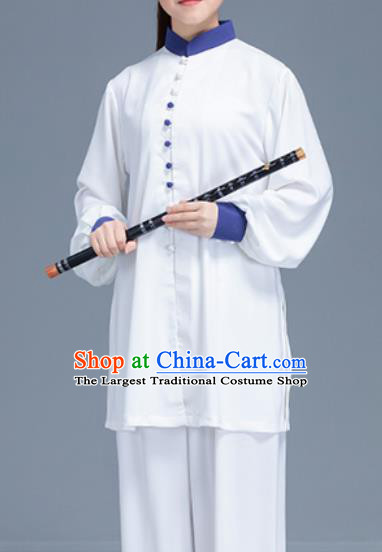 Asian Chinese Traditional Martial Arts Costume Tai Ji Kung Fu Training White Uniform for Women