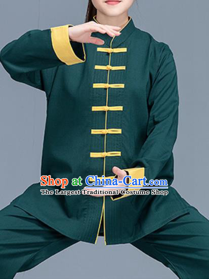 Asian Chinese Traditional Martial Arts Costume Tai Ji Kung Fu Training Green Linen Uniform for Women