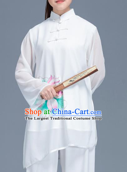 Asian Chinese Traditional Martial Arts Costume Tai Ji Kung Fu Training Printing Lotus Uniform for Women