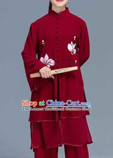 Asian Chinese Traditional Martial Arts Printing Magnolia Red Costume Tai Ji Kung Fu Training Uniform for Women