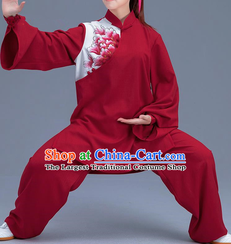 Asian Chinese Traditional Martial Arts Printing Peony Red Costume Tai Ji Kung Fu Training Uniform for Women