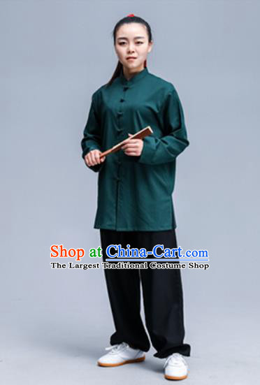 Asian Chinese Traditional Martial Arts Kung Fu Costume Tai Ji Training Group Competition Green Uniform for Women