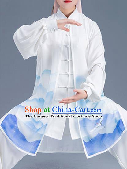 Asian Chinese Traditional Martial Arts Kung Fu Printing Crane Costume Tai Ji Training Group Competition Uniform for Women