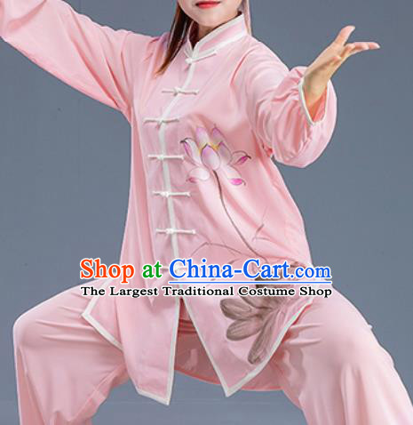 Asian Chinese Traditional Martial Arts Kung Fu Printing Lotus Pink Costume Tai Ji Training Group Competition Uniform for Women