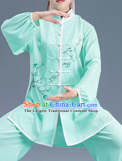 Asian Chinese Traditional Martial Arts Kung Fu Printing Plum Blossom Green Costume Tai Ji Training Group Competition Uniform for Women