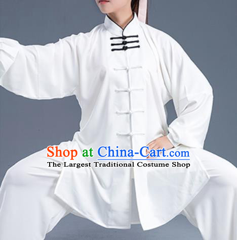 Asian Chinese Traditional Martial Arts Kung Fu Costume Tai Ji Training Group Competition White Uniform for Women