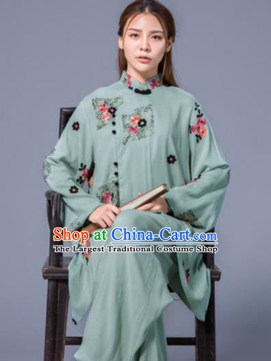 Asian Chinese Martial Arts Traditional Kung Fu Green Costume Tai Ji Training Group Competition Uniform for Women