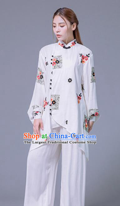 Asian Chinese Martial Arts Traditional Kung Fu White Costume Tai Ji Training Group Competition Uniform for Women