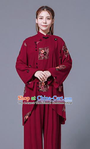 Asian Chinese Martial Arts Traditional Kung Fu Red Costume Tai Ji Training Group Competition Uniform for Women