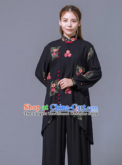 Asian Chinese Martial Arts Traditional Kung Fu Black Costume Tai Ji Training Group Competition Uniform for Women