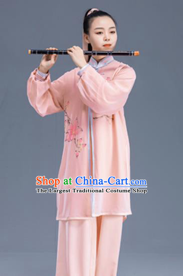 Asian Chinese Martial Arts Traditional Kung Fu Printing Pink Costume Tai Ji Training Group Competition Uniform for Women