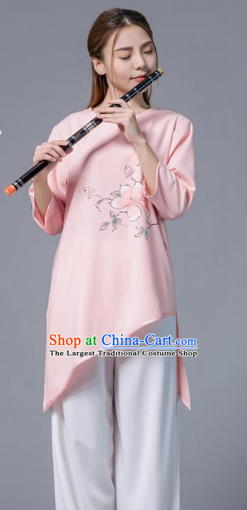 Asian Chinese Martial Arts Traditional Kung Fu Printing Peach Blossom Pink Costume Tai Ji Training Group Competition Uniform for Women