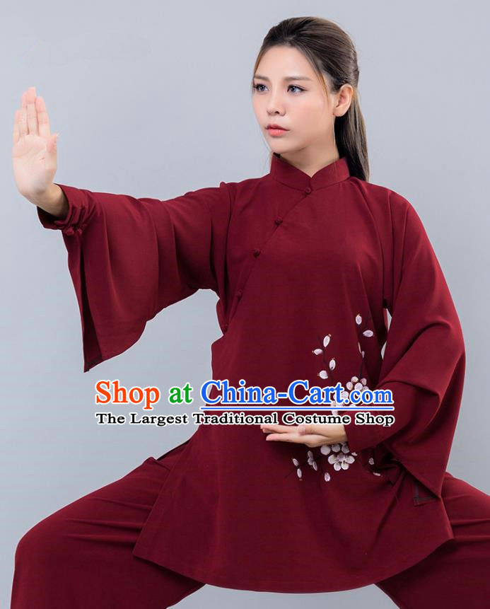 Asian Chinese Martial Arts Traditional Kung Fu Printing Wine Red Costume Tai Ji Training Group Competition Uniform for Women