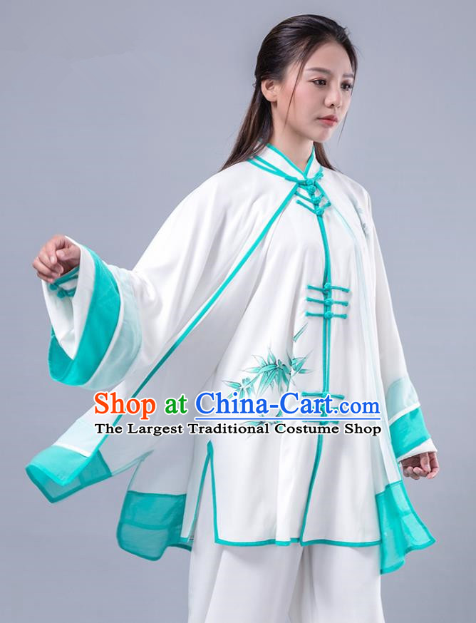 Asian Chinese Martial Arts Traditional Kung Fu Costume Tai Ji Training Group Competition Printing Bamboo Green Uniform for Women