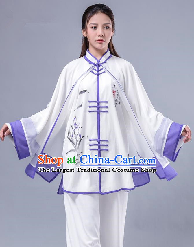 Asian Chinese Martial Arts Traditional Kung Fu Costume Tai Ji Training Group Competition Printing Orchid Purple Uniform for Women