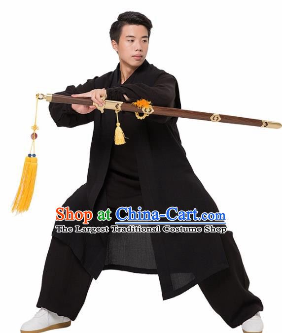 Asian Chinese Traditional Martial Arts Kung Fu Costume Tai Ji Black Clothing for Men