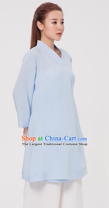 Asian Chinese Martial Arts Traditional Kung Fu Costume Tai Ji Training Blue Robe for Women