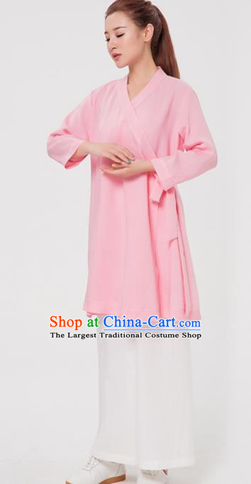 Asian Chinese Martial Arts Traditional Kung Fu Costume Tai Ji Training Pink Robe for Women