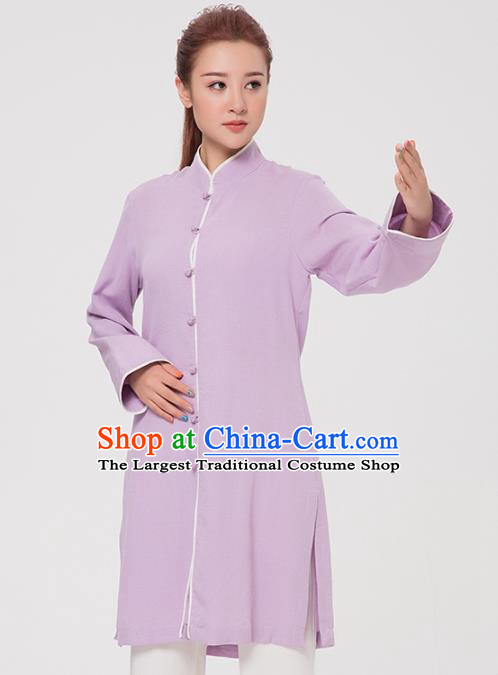 Asian Chinese Martial Arts Traditional Kung Fu Costume Tai Ji Training Purple Coat for Women